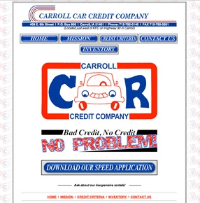 Carroll Car Credit website