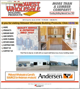 Midwest Wholesale Building Products website