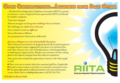 Rural Iowa Independent Telephone Association (RIITA) postcard