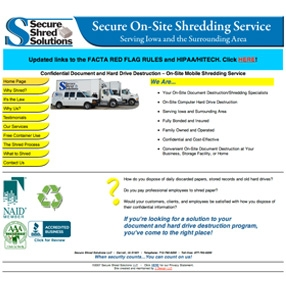 Secure Shred Solutions website